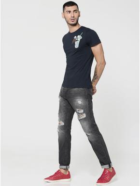 Dark Blue Straw Glass Print Crew Neck T-Shirt