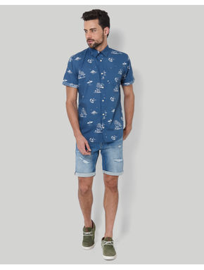 Blue Palm Tree Print Shirt