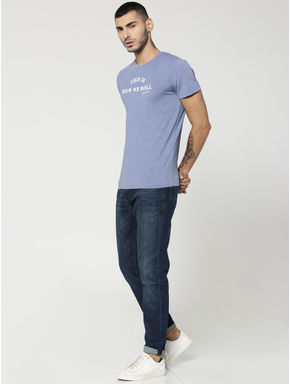 Light Blue Text Print Crew Neck T-Shirt