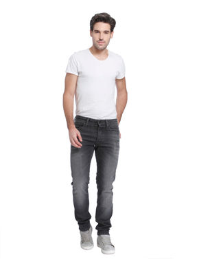 Grey Mid Rise Relaxed Fit Jeans