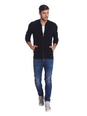 Black Quilted Zip Up Cardigan