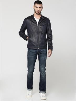 Dark Blue Textured Suede Biker Jacket