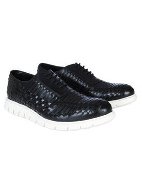 Black Woven Leather Lace Up Shoes