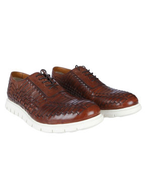 Tan Woven Leather Lace Up Shoes