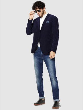 Dark Blue Corduroy Slim Fit Blazer