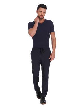 Dark Blue Striped Drawstring Slim Sweatpants