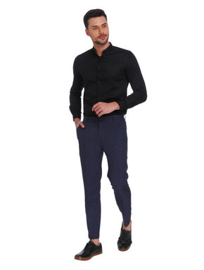 Blue Check Slim Fit Trousers