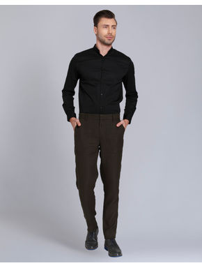 Olive Green Regular Fit Linen Pants