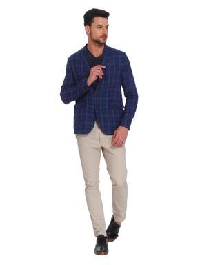 Blue Check Linen Blazer