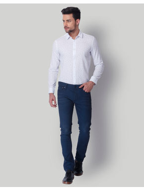 White All Over Print Slim Fit Shirt