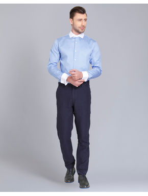Light Blue with White Collar Slim Fit Shirt