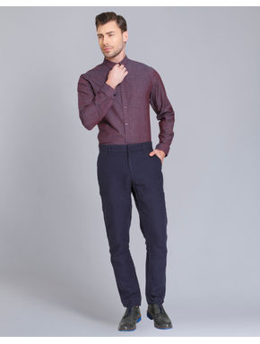 Maroon All Over Print Slim Fit Shirt