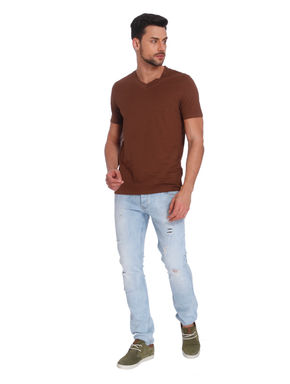 Brown V-Neck T-Shirt