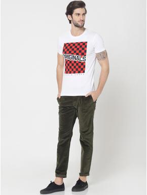 White Checkerboard Print Crew Neck T-Shirt