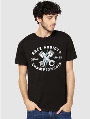Black Graphic & Text Print Crew Neck T-Shirt