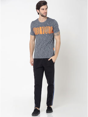 Grey Colourblocked Typography Print Crew Neck T-Shirt