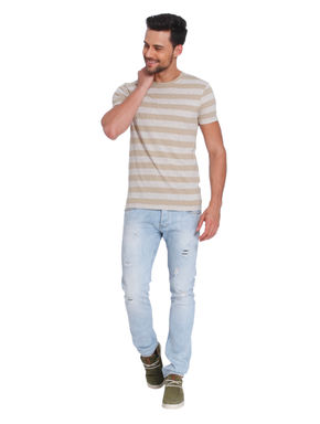 Beige and Grey Striped Crew Neck T-Shirt