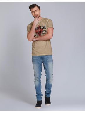 Beige Text Print Crew Neck T-Shirt