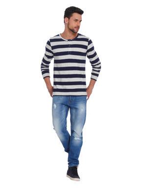 Dark Blue Striped Crew Neck T-Shirt