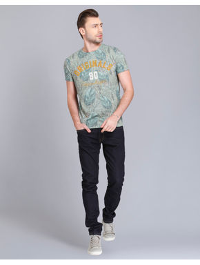 Green Leaf Print Crew Neck T-Shirt