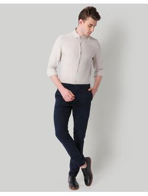 Beige Self Print Slim Fit Shirt