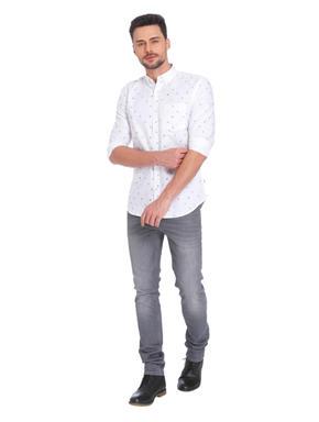 White Leaf Print Regular Fit Shirt