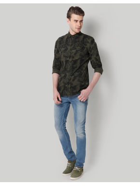 Green Leaf Print Slim Fit Shirt
