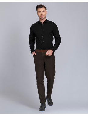 Black Jacquard Slim Fit Shirt