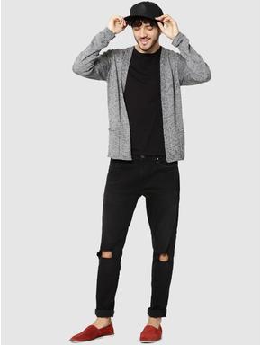 Dark Grey Textured Knit Cardigan