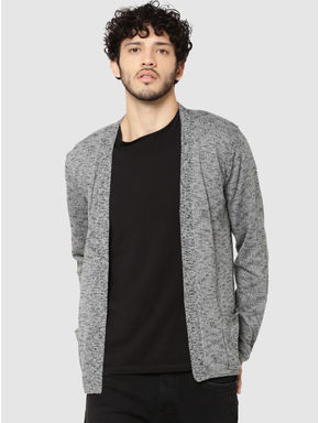 Dark Grey Textured Knit Cardigan
