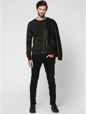 Black Camo Print Crew Neck Pullover