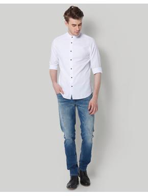 White Mandarin Collar Slim Fit Shirt