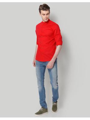 Red Mandarin Collar Slim Fit Shirt