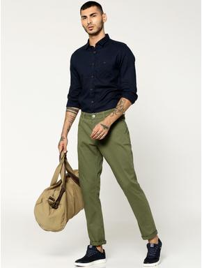 Olive Green Tim Slim Fit Trousers