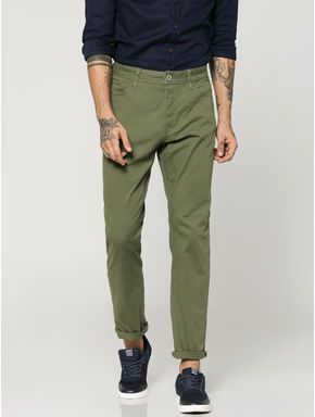 Olive Green Tim Slim Fit Trousers