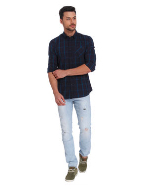 Dark Blue Check Slim Fit Shirt