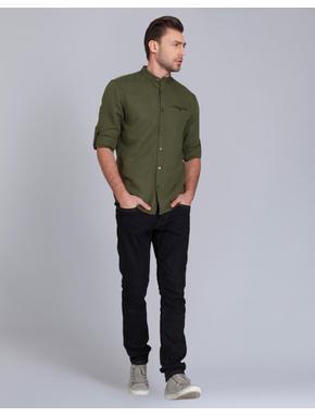 Olive Green Mandarin Collar Linen Shirt
