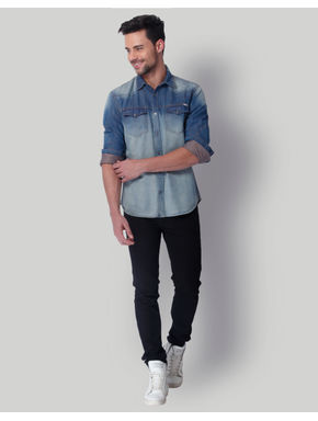Blue Distressed Denim Shirt
