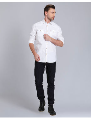 White Over Dyed Slim Fit Shirt