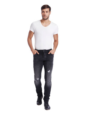 Black Distressed Low Rise Slim Fit jeans