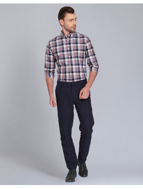 Dark Blue & Red Check Slim Fit Shirt