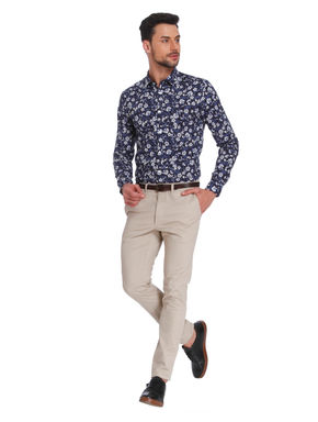 Dark Blue Floral Print Slim Fit Shirt