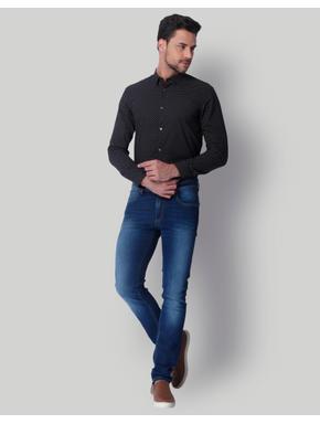 Black Dotted Slim Fit Shirt