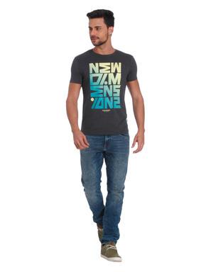 Dark Grey Text Print Crew Neck T-Shirt