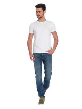 White JJ Logo Print Crew Neck T-Shirt