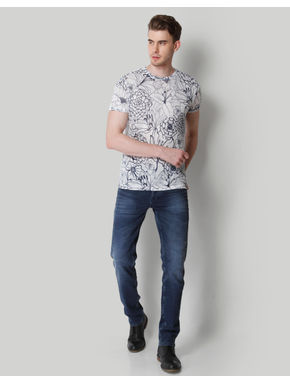 White Floral Print Crew Neck T-Shirt