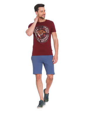 Maroon Tiger Print Crew Neck T-Shirt