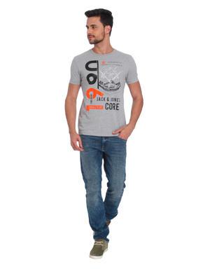 Grey Graphic Print Crew Neck T-Shirt