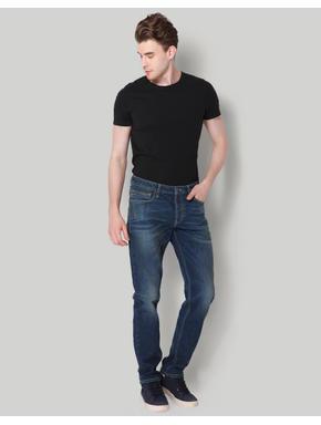 Blue Plain Mid Rise Comfort Fit Jeans