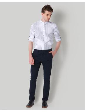White Striped Mandarin Collar Shirt